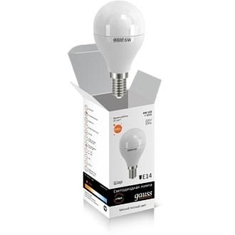 Светодиодная лампа шар Gauss elementary 6W 2700K Е14 LD53116