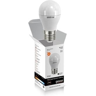 Светодиодная лампа шар Gauss elementary 6W 2700K Е27 LD53216