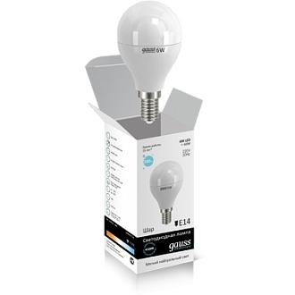 Светодиодная лампа шар Gauss elementary 6W 4100K Е14 LD53126